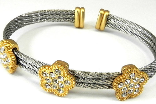 Cable Designer Inspired 2-Tone & Pave Set Austrian Crystal Bracelet Cuff