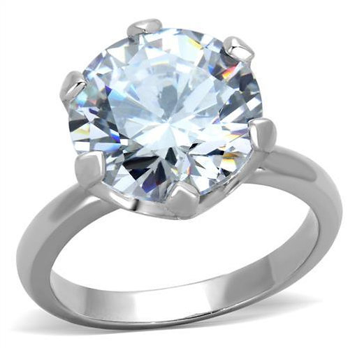 Dazzling 7 Carat Solitaire CZ Stainless Steel Engagement-Bridal Ring Sz 5-10