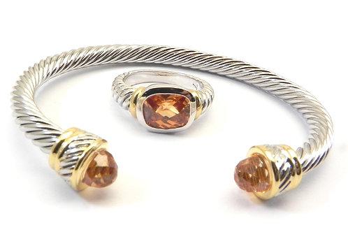 Cable Designer Inspired 2-Tone Topaz CZ Bracelet & Ring Sz6-8