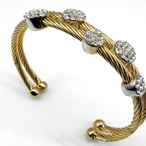 Cable Designer inspired 14kt Gold IP & Pave Set Austrian Crystal Bracelet Cuff