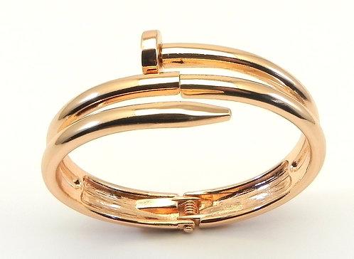Designer Inspired Statement Bold Rose Gold-Tone Hinged Bracelet