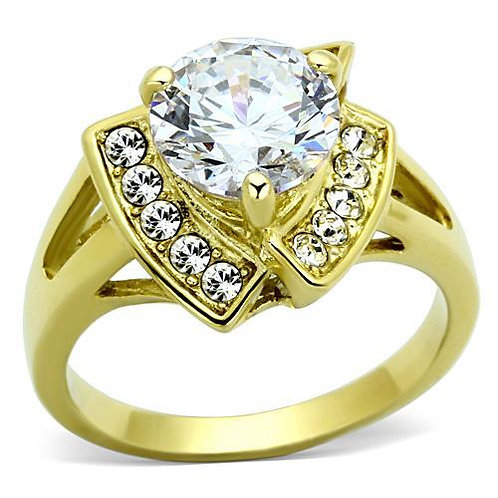 2.43ctw Round Cut CZ & Side Accents Gold IP Stainless Steel Engagement Ring 5-10