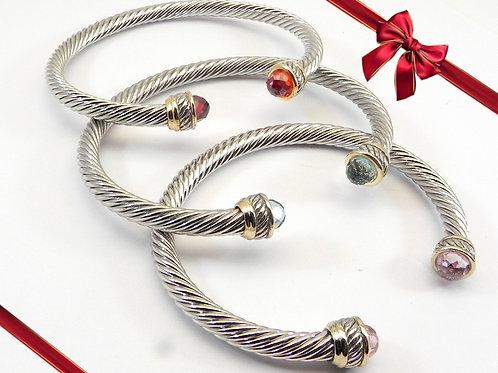 Stacking Bracelet  Set Cable Designer 2-Tone  CZ  Pink, Blue & Red