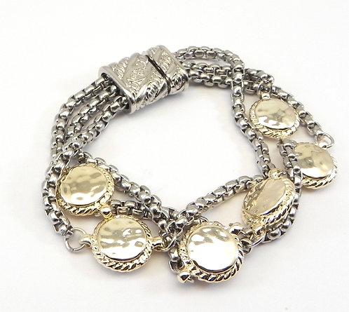 Bali Designer Inspired 2-Tone Multi (3) Strand & Round Hammered Station Bracelet