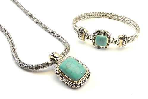 """Cable Designer Inspired 2-Tone Simulated Turquoise Pendant-18"""" Chain-Bracelet"""