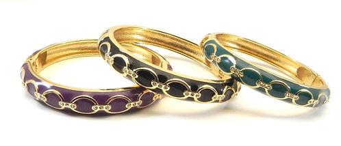 Designer Inspired Gold Tone French Enameled Crystal Bracelet Trio
