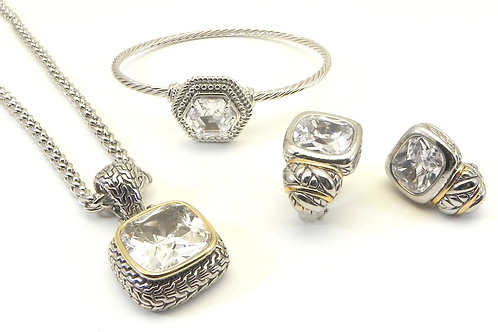 Bali Designer Inspired 2-Tone Clear CZ Pendant/Necklace/Earring/Bracelet Set