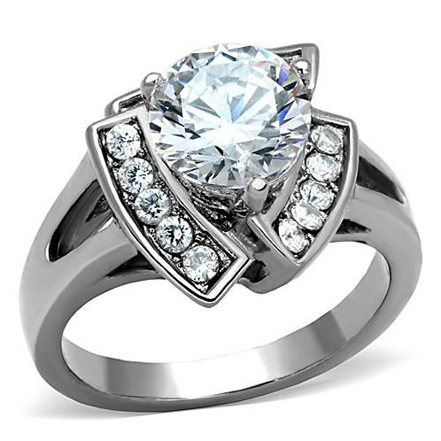 2.43ctw Round Cut CZ & Side Accents Stainless Steel Engagement Ring Sz 5-10
