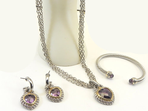 Cable Designer Inspired 2-Tone Heart Amethyst CZ Pendant -Necklace -Earring Cuff