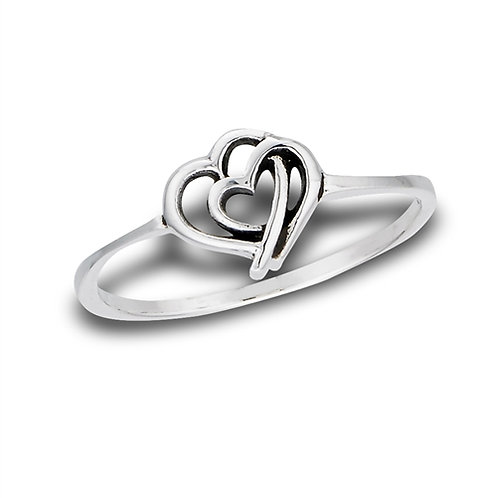 Sterling Silver Very-Very Delicate Mother And Baby Heart Ring