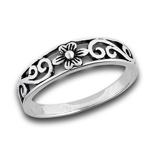 Sterling Silver Dainty-Petite Flower With Side Scrolling Ring Size 7