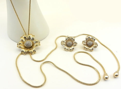 Lariat Designer Inspired  Pave Flower Gold-Tone And Matching Earring Set