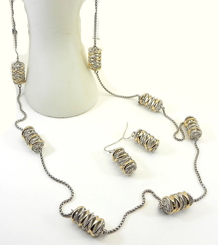 "Designer Inspired 2-Tone Filigree Cylinder Stations 36"" Necklace-Earring"