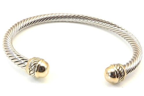 Cable Designer Inspired 2-Tone Stainless Steel Bracelet