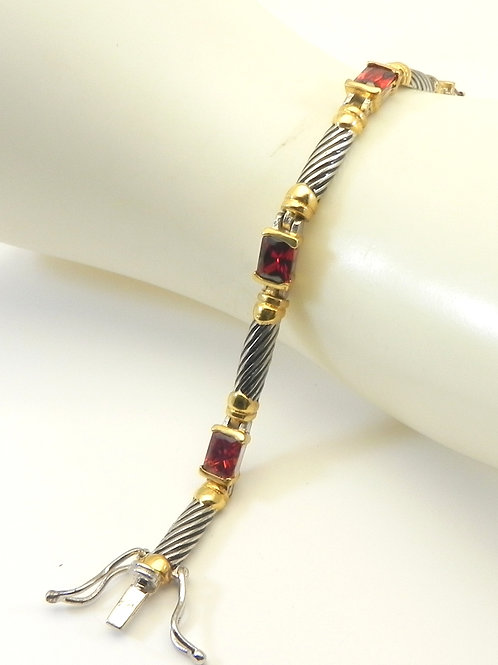 Classic Cable Designer Inspired 2-Tone and CZ Bracelet