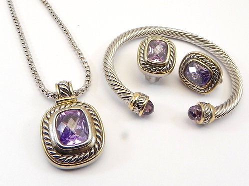 Cable Designer Inspired 2-Tone Light Amethyst CZ Neck-Pendant Bracelet & Earring