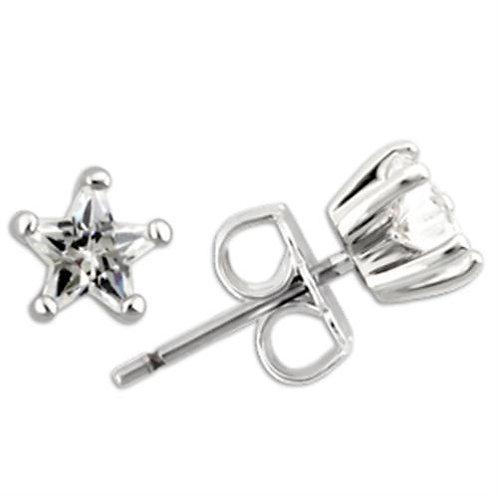 5 MM .48 Carat Per Side CZ Star Shape Sterling Silver Stud Earring
