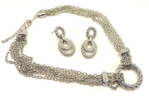 Multi-Strand Designer Inspired Silver-Tone Pave Necklace & Earring