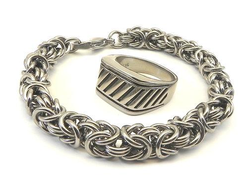 Unisex Turkish Rope Stainless Steel Link Bracelet & Ring Set