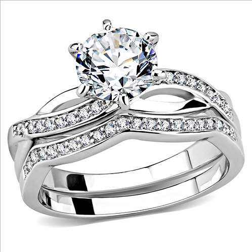 Bridal Set Engagement Ring 1.43 Round Cut CZ & CZ Accents Rhodium Size 5-10