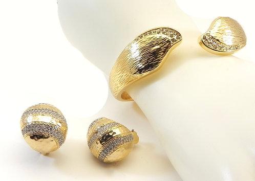 Elegant Gold Tone Sculpted & Set Crystals Bracelet-Hoop Earring Set
