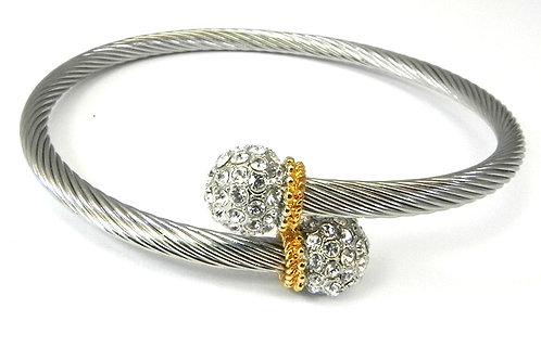 Cable Designer inspired 2-Tone and Pave Set Austrian Crystals Bracelet