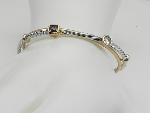Cable Designer Inspired  Jet/Crystal 2-Tone Stainless Steel Bracelet Cuff