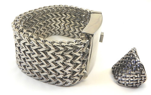Manly-Bold-Heavy-Dashing Stainless Steel Mesh Bracelet-Ring Set sz9-