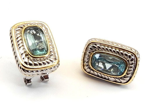 Classic Cable Designer Inspired Sea Blue CZ Earring