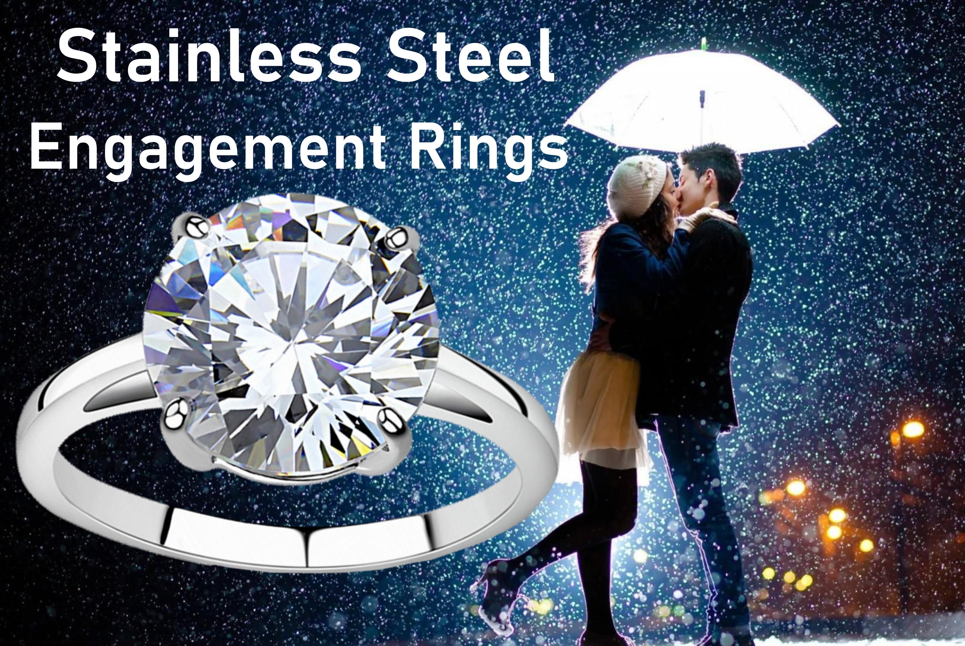 4.91 Carat CZ Bridal Eternity Stainless Steel Ring Engagement Bride-Groom