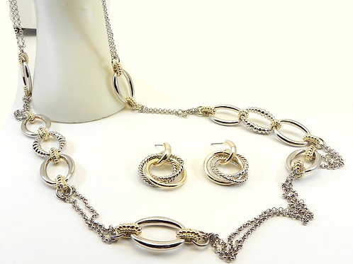 "Cable Designer Inspired  2-Tone 36"" Double Link Necklace & Dangle Earring"