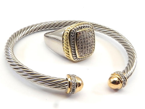 Cable Designer Inspired 2-Tone Clear Pave Bracelet & 2-Tone Pave Ring 6-8