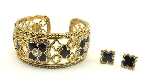 Designer Inspired Statement Gold-Tone Black Enamel Pave-Flower Motif Bracelet