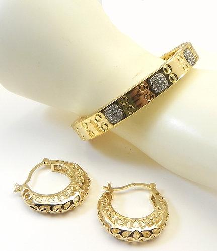 French Designer Inspired  Gold-Tone Bangle Pave Crystals Bracelet & Earring Set