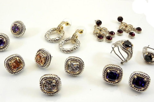 Cable Designer Inspired 2-Tone Earring Collection 2 PAIR for 18.00