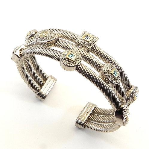 Exquisite Triple Cable Designer Inspired 2-Tone Blue Squares & Pave CZ Bracelet