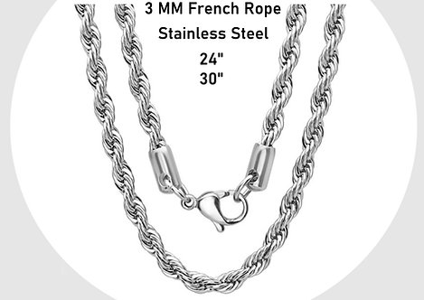 """Unisex Stainless Steel 3 MM French Rope 24"""" - 30"""" Necklace Chain"""