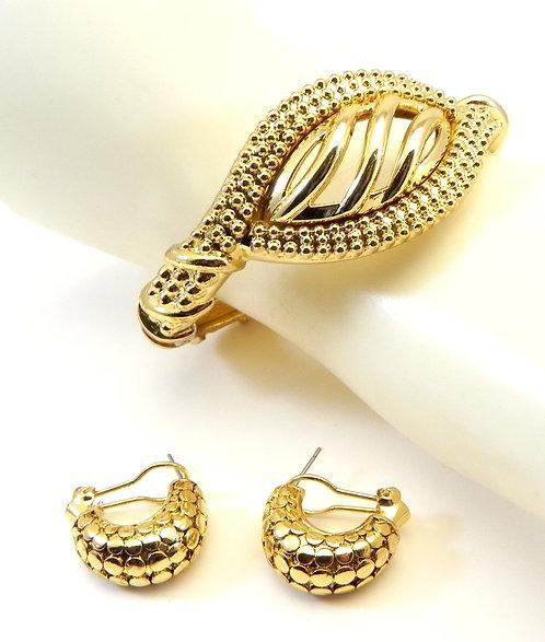 Designer Inspired  Gold Tone Bracelet and Earring Set