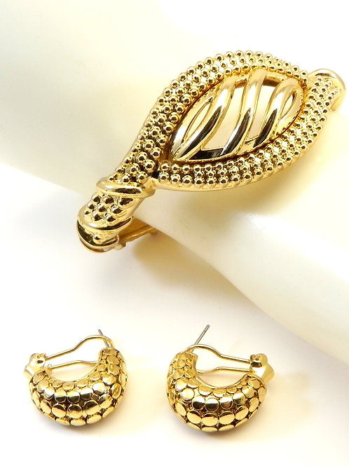 Designer Inspired  Gold Tone Bracelet and Earring Set