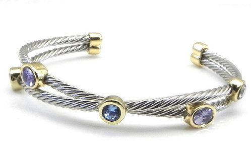 Cable Designer Inspired 2-Tone Multi-Color Bezel Set CZ Bracelet Cuff
