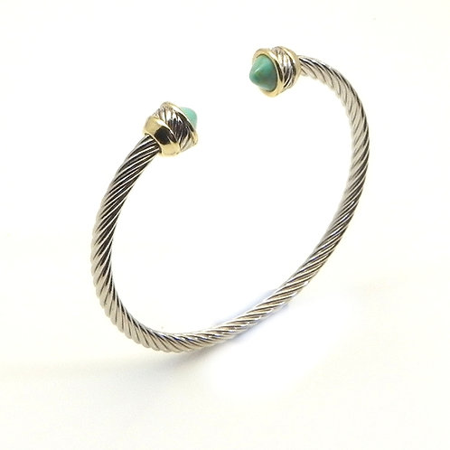 Classic Cable Designer Inspired 2-Tone Simulated Turquoise 3.5 MM  Bracelet Cuff