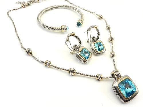 Cable Designer Inspired 2-Tone Blue Topaz CZ-Chain-Pendant-Bracelet & Earring
