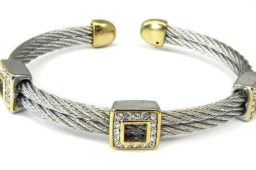 Cable Designer inspired 2-Tone & Pave Set Austrian Crystals Bracelet-Cuff
