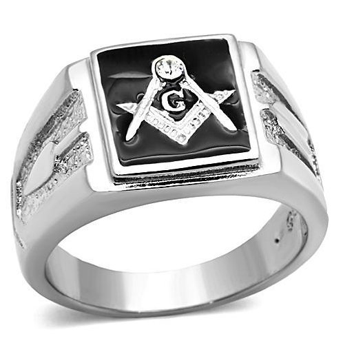 Stainless Steel Men's Ring Masons Black Enamel & Crystal