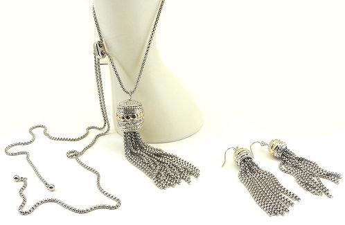 """Designer Inspired 2-Tone 34"""" Adjustable Length Pave Tassel Necklace-Earring Set"""