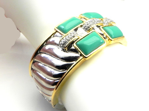Wide Cable Designer Inspired  2-Tone Simulated Turquoise & Pave crystal Bracelet