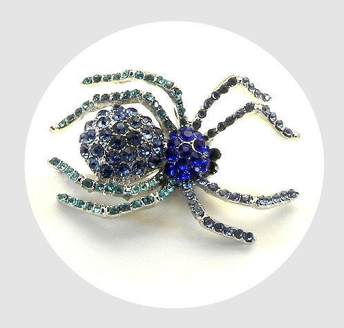 Sparkly Spider Silver Tone Blue Tonal Austrian Crystals Brooch
