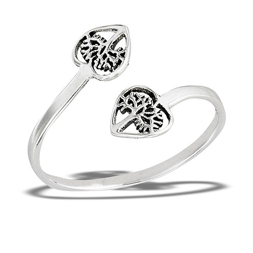 Sterling Silver Adjustable Double Tree Of Life Inside Heart Ring Size 6