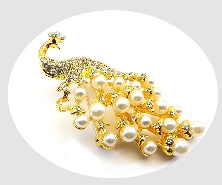 Beautifully Elegant  Peacock Gold Tone Faux Pearl &Pave Crystals Brooch
