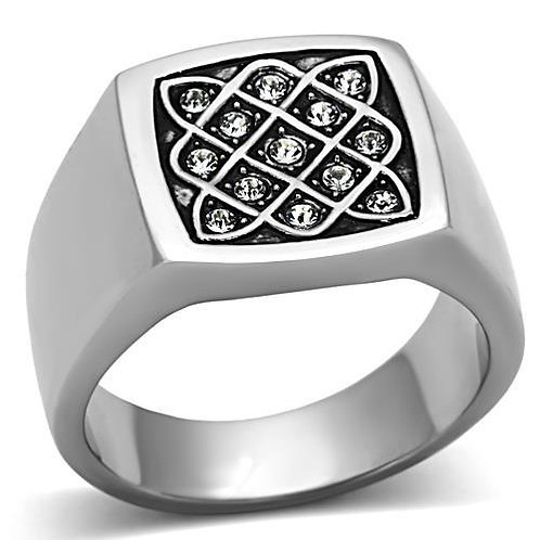 Stainless Steel Men's Ring & Swarovski crystals 8-13